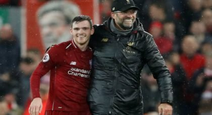 Liverpool fans go wild for Robertson at HT v Brighton