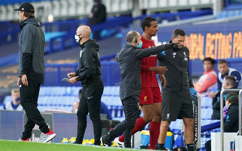 Image for Liverpool dealt blow as Joel Matip is ruled out for three weeks